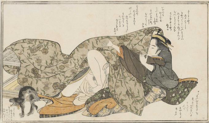 Katsukawa ни один Shunsho. Кошка рядом пару под одеялом