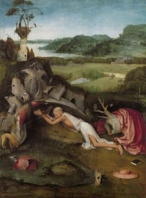 Hieronymus Bosch. Saint Jerome at prayer