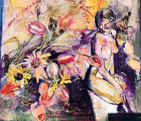 Обнаженная девушка и цветы
