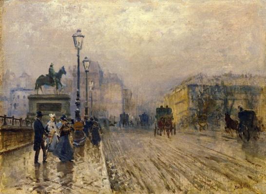 Джузеппе де Ниттис. Париж, улица с экипажами