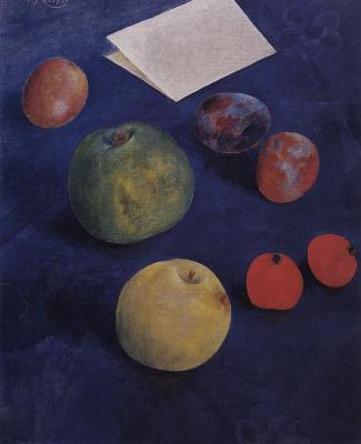 Kuzma Sergeevich Petrov-Vodkin. Fruit on a blue tablecloth