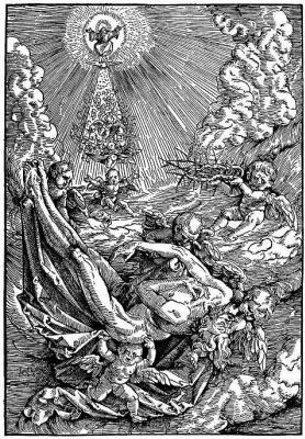 Ханс Бальдунг. Ангелы, возносящие тело Христа в облака