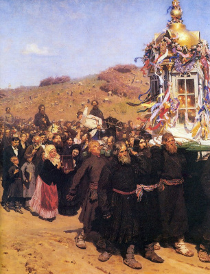Ilya Efimovich Repin. Religious procession in Kursk province. Fragment