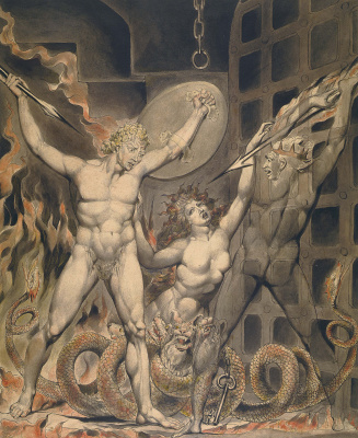 """William Blake. Satan, Sin and Death at the gates of hell. Illustration to the poem of Milton's """"Paradise Lost"""""""
