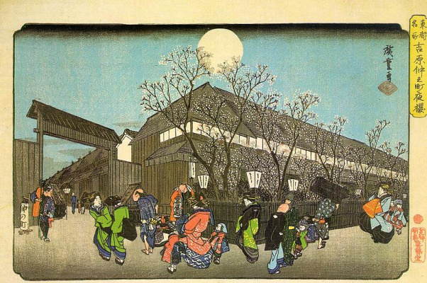 """Utagawa Hiroshige. Flowering cherry trees in the evening on Nekonomori in esivere. The series """"Famous places of the Eastern capital"""""""