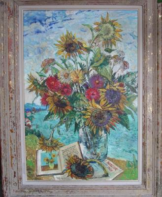 David Davidovich Burliuk. Flowers by the sea.Van Gogh is dedicated to