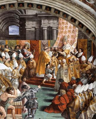 The coronation of Charlemagne by Pope Leo III. Fragment. Stanza del Incendio di Borgo