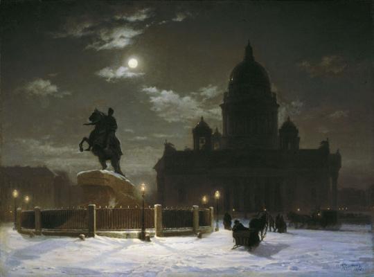 Василий Иванович Суриков. Вид на памятник Петру І на Сенатской площади в Петербурге