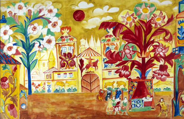 "Natalia Goncharova. A sketch of the scenery for the play ""the Golden Cockerel"""