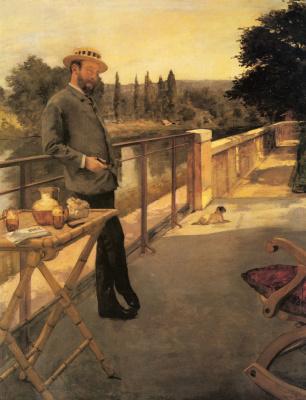 Анри Гервех. Элегантный человек на террасе