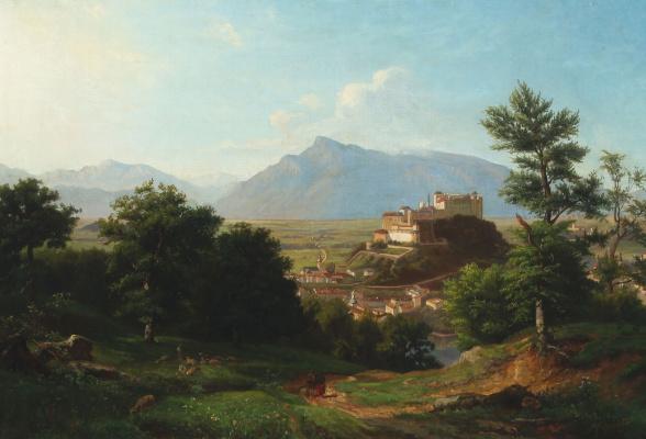 Franz Kruger. Landscape with mountains and castle in Salzburg
