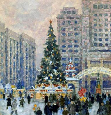 Михаил Петрович Бобышев. Новогодняя елка на Манежной площади