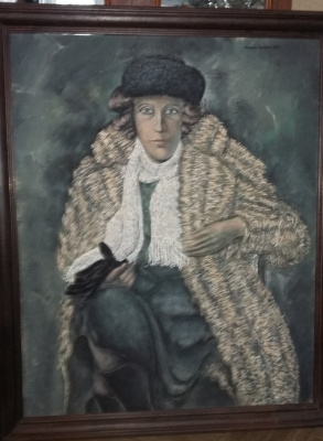 Nikolay Zverev. Portrait of a woman in a fur coat and with gloves in hand