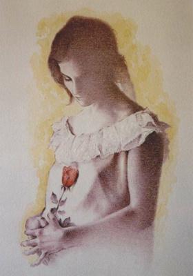 Хуан Санчес Родригес. Девушка с розой
