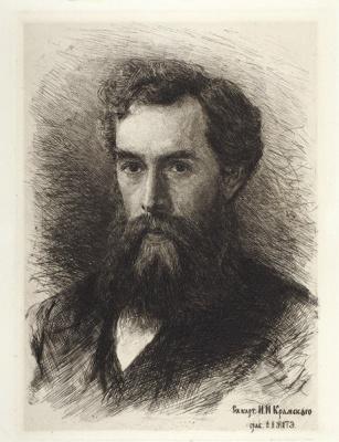 Vasily Vasilyevich Mate. Portrait of Pavel Tretyakov (portrait by I. N. Kramskoy). 1900-E. etching