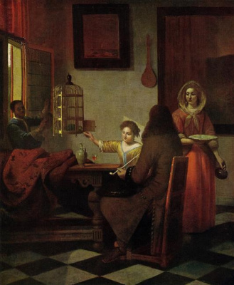 Pieter de Hooch. The company at table and a woman feeding a parrot