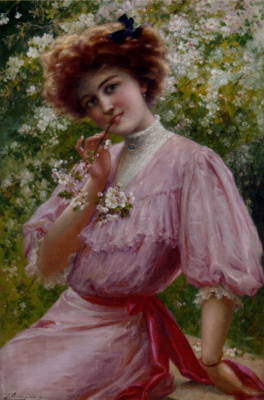 Emile Vernon. Girl in pink with a branch