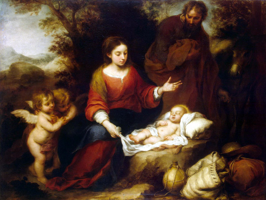 Bartolomé Esteban Murillo. The rest of the Holy family on the flight into Egypt