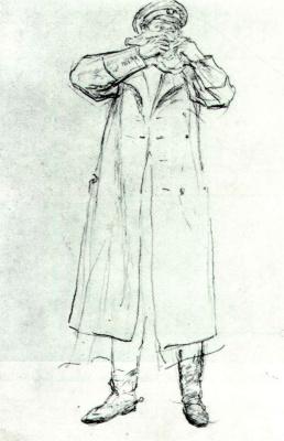 Ilya Efimovich Repin. Standing man in uniform, clutching a handkerchief. Duel