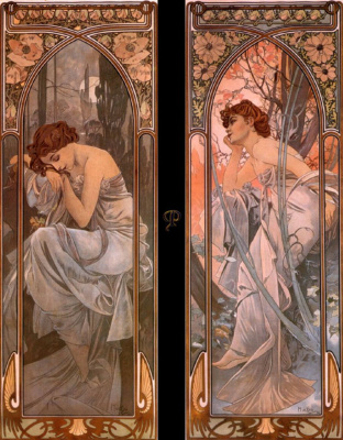 "Alphonse Mucha. Night and evening reverie. Series ""Times of day"""