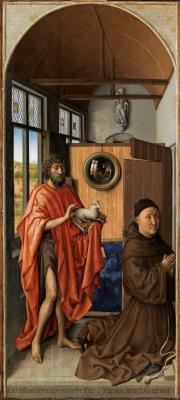 Робер Кампен. Триптих Верля. Левая створка: Иоанн Креститель и донатор Генрих фон Верль