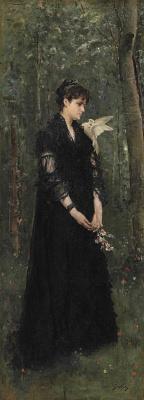 Alfred Emil-Leopold Stevens. Женщина с голубем.