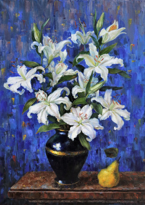 Tatyana Chepkasova. White lilies on blue background