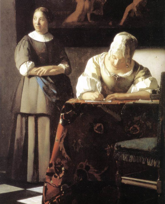 Ян Вермеер. Дама, пишущая письмо, со своей служанкой. Фрагмент