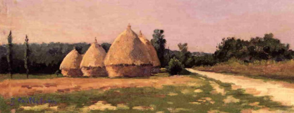 Gustave Caillebotte. Landscape with haystacks