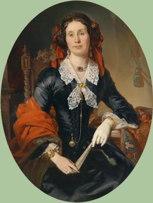 Josef Plank. Portrait of Anna Reitter, neé Lorenz with Red Shawl