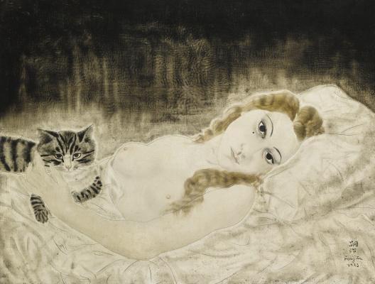 Цугухару Фудзита ( Леонар Фужита ). Юки с котом
