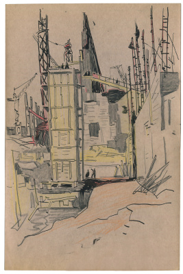 Alexandrovich Rudolf Pavlov. Sketch at the construction site of the ChMZ plant (2)