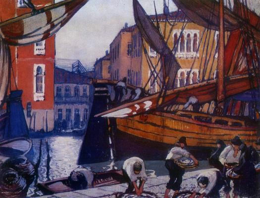 Михаил Пелопидович Латри. Набережная с рыбачьими судами в Венеции