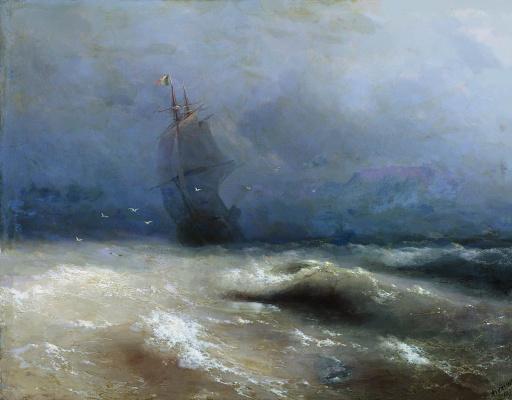 Ivan Aivazovsky. A storm off the coast of nice