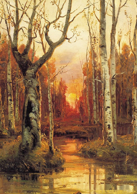 Julius Klever. Sunset in the forest