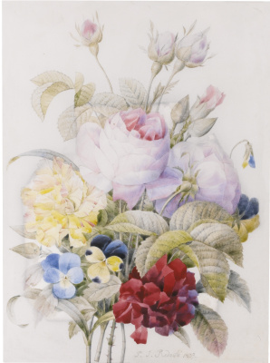 Pierre-Joseph Redoute. Bouquet with pink roses, violets and other flowers