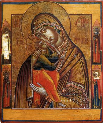 Icon Painting. Our Lady of Affection, with the saints in the fields (Nevyansk)