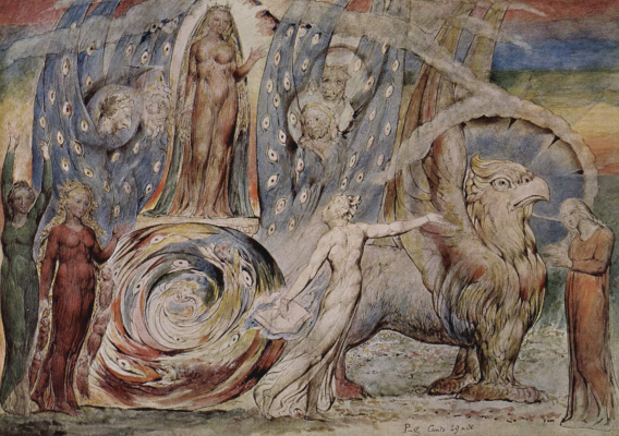 "William Blake. Beatrice talks to Dante from his car. Illustrations for ""the divine Comedy"""