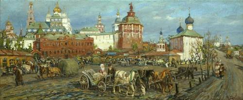Mikhail Vasilyevich Boskin. Market square in front of Trinity-St. Sergius Lavra