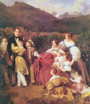 Ferdinand Georg Waldmüller. The family of the notary Dr. Josef August Eliza