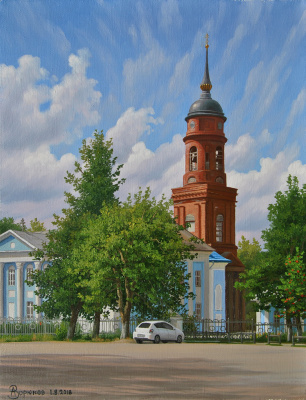 Alexander Vasilyevich Zoryukov. View of the Church of the Icon of the Mother of God. Lyudinovo.