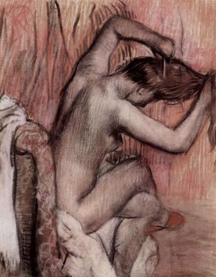 Эдгар Дега. Сидящая обнаженная, расчесывающая волосы