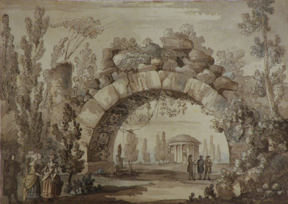 Giacomo Quarenghi. A Park landscape with an arch