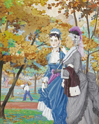 Constantin Somov. Two ladies in the Park