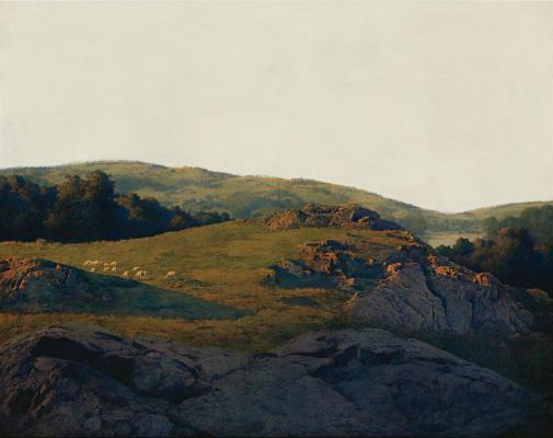 Maxfield Parrish. Pastoral. Sheep grazing