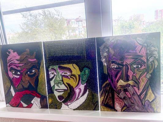 """Emma Mikhailovna. """"Art dealer. Collector. Artist"""" Triptych"""