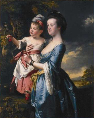 Joseph Wright. Portrait of Sarah Carver and her daughter Sarah