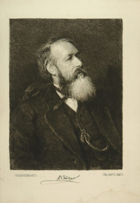 Vasily Vasilyevich Mate. Vasily Vasilyevich mate to original Repin. Portrait of the art critic Vladimir Stasov. 1890 Etching.