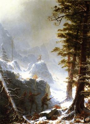 Альберт Бирштадт. Охотники, преследующие горного барана