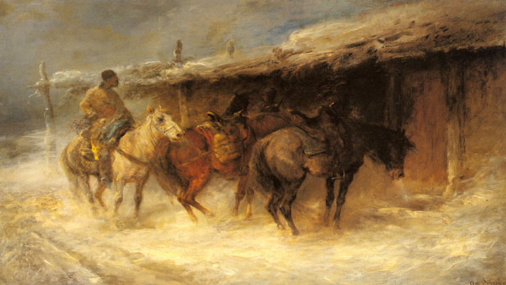 Эмиль Рау. Валашский всадник в снегу